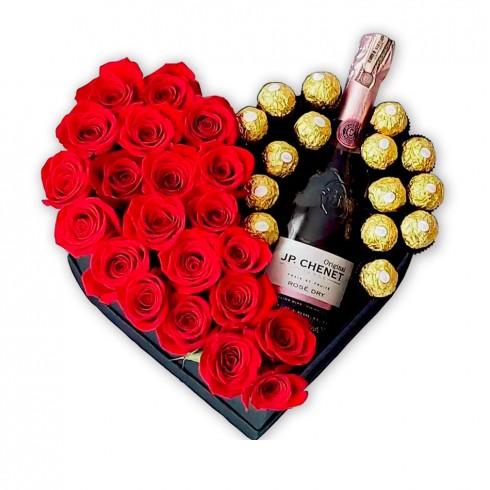Rosas rojas, Ferreros, Chenet- Floristeria Cali